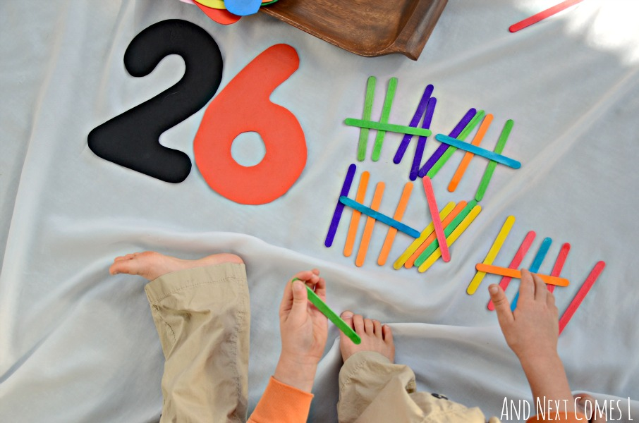 Elementary math tray that works on making tally marks from And Next Comes L