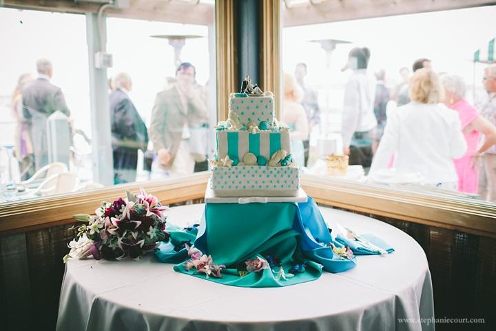 """sea inspired teal wedding cake"""