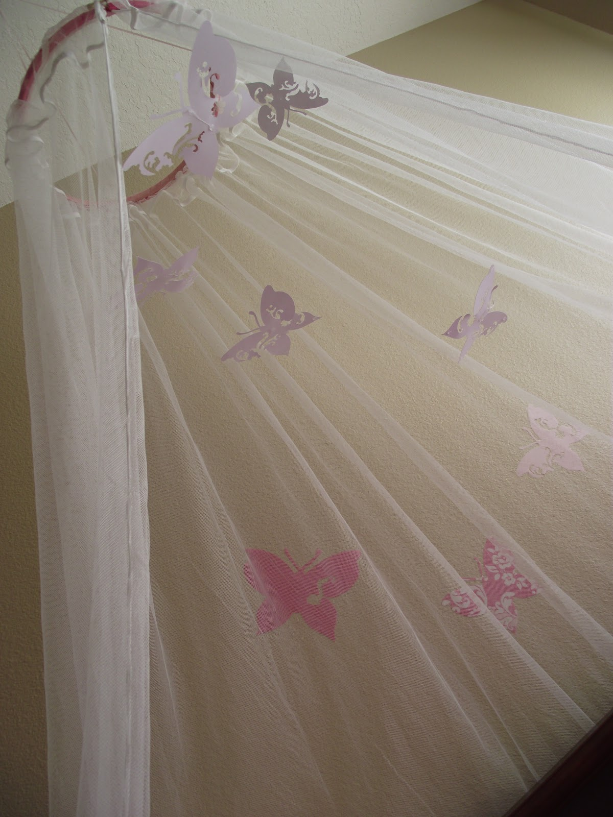 Wild whitney 39 s pottery barn inspired butterfly canopy for Diy baby crib canopy