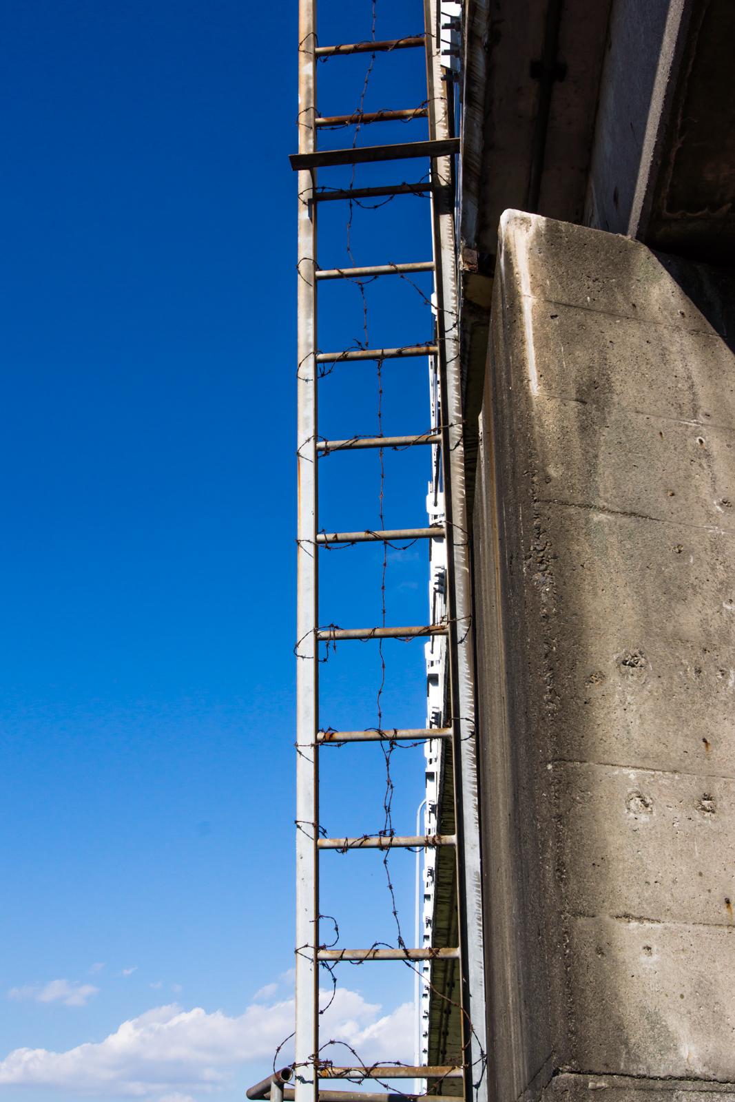 有刺鉄線が巻かれた梯子と青空の写真