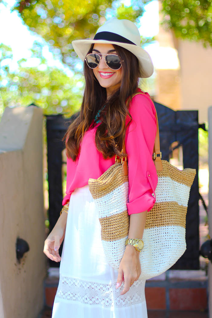 jcrew, summer outfits, maxi skirt, bohemian skirts, white skirt, tory burch bag, beach bag, panama hat