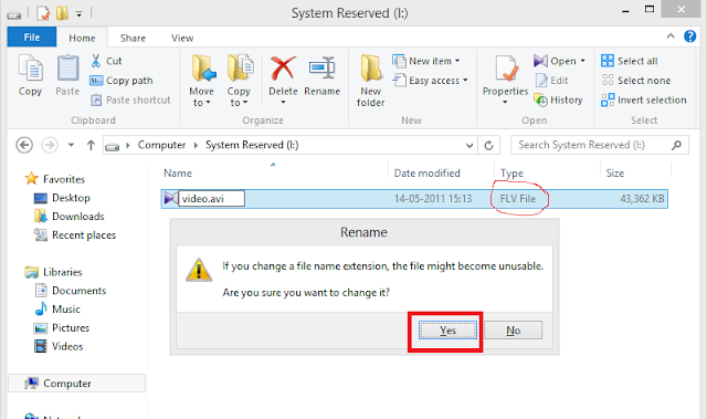 Easy way to changing the file extension in windows 8