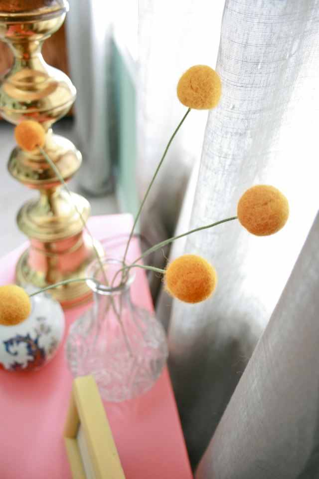 DIY felted wool ball billy button