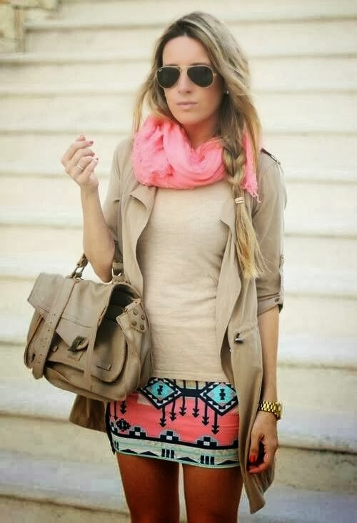 Pink scarf, skirt, cardigan, khaki blouse and handbag