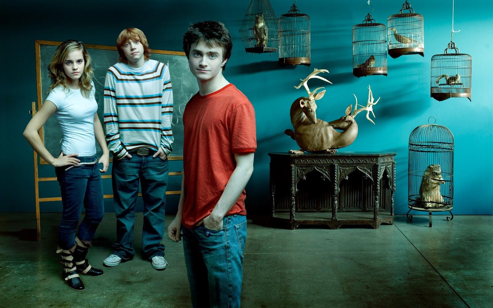 Emma Watson with Harry Potter Movie Crew
