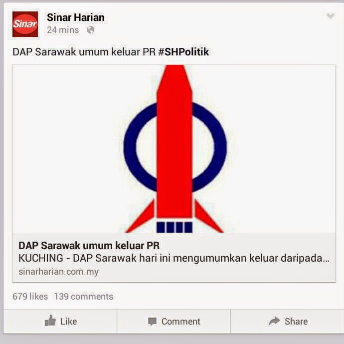 DAP Sarawak Keluar Pakatan Hanya Sandiwara Politik Sarkas