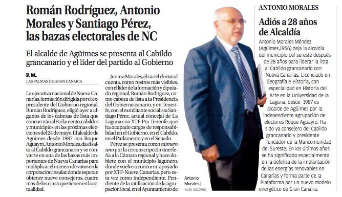 Román Rodríguez,Antonio Morales y Santiago Pérez las bazas electorales de NC