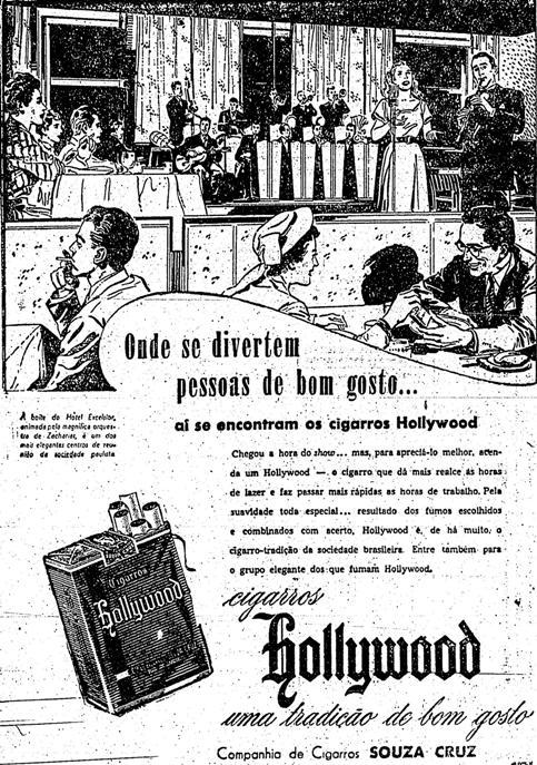 Propaganda dos Cigarros Hollywood nos anos 50 onde são apresentadas pessoas fumando em ambiente fechado.