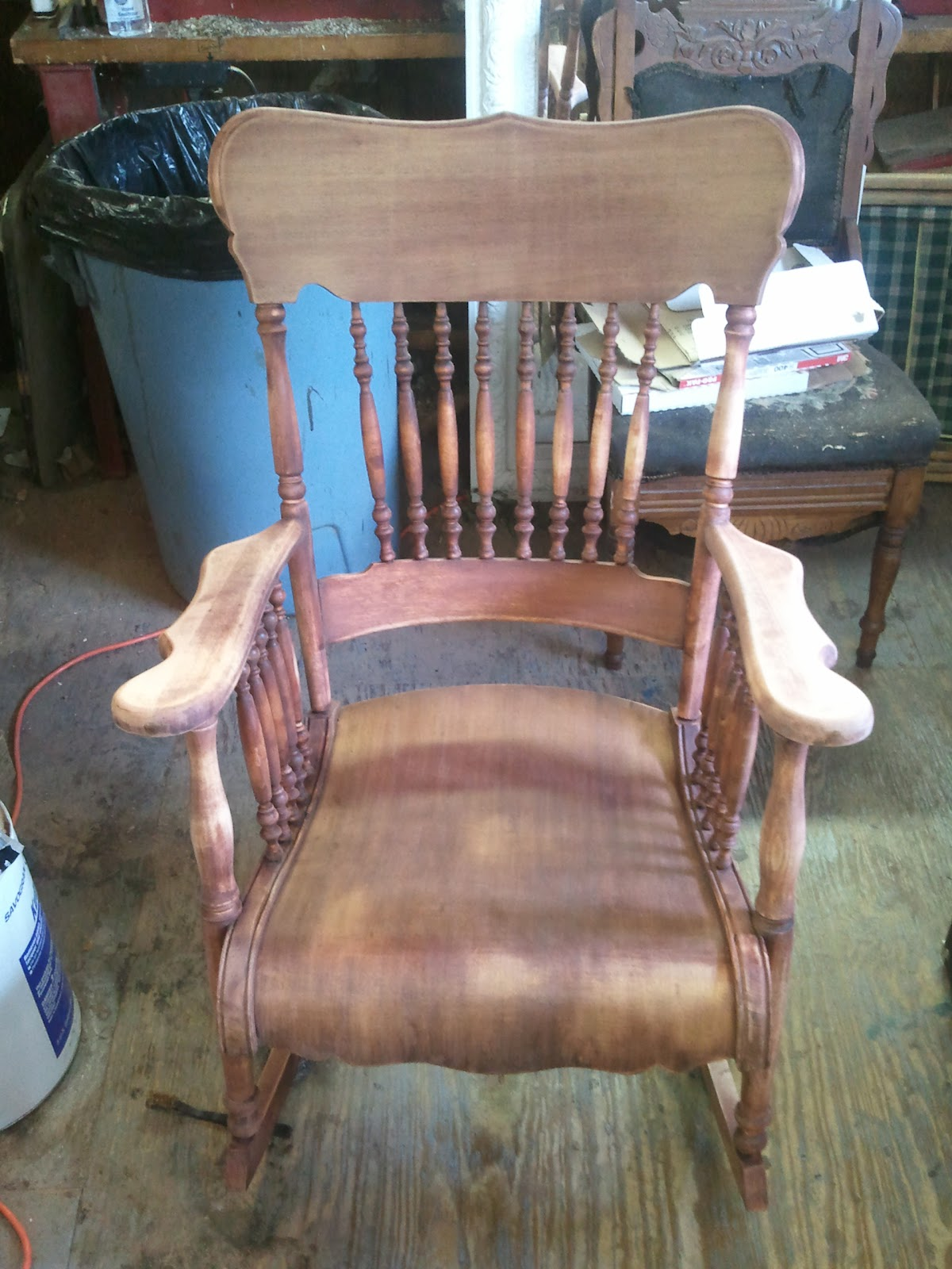 The old red stains they used are hard to completely eliminate, but there is  really no reason to do this because the chair was stained again to match  the ... - John Mark Power, Antiques Conservator: Mahogany And Maple Rocking