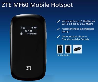 Mobiler Hotspot ZTE MF60 bei o2 für 62,95 Euro