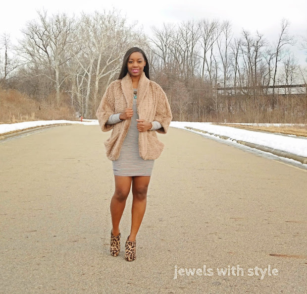 spring jackets, brown faux fur coat, camel faux fur coat, forever 21 striped dress, jewels with style, black fashion blogger, leopard boots, leopard heels, how to mix prints, outfit of the day,