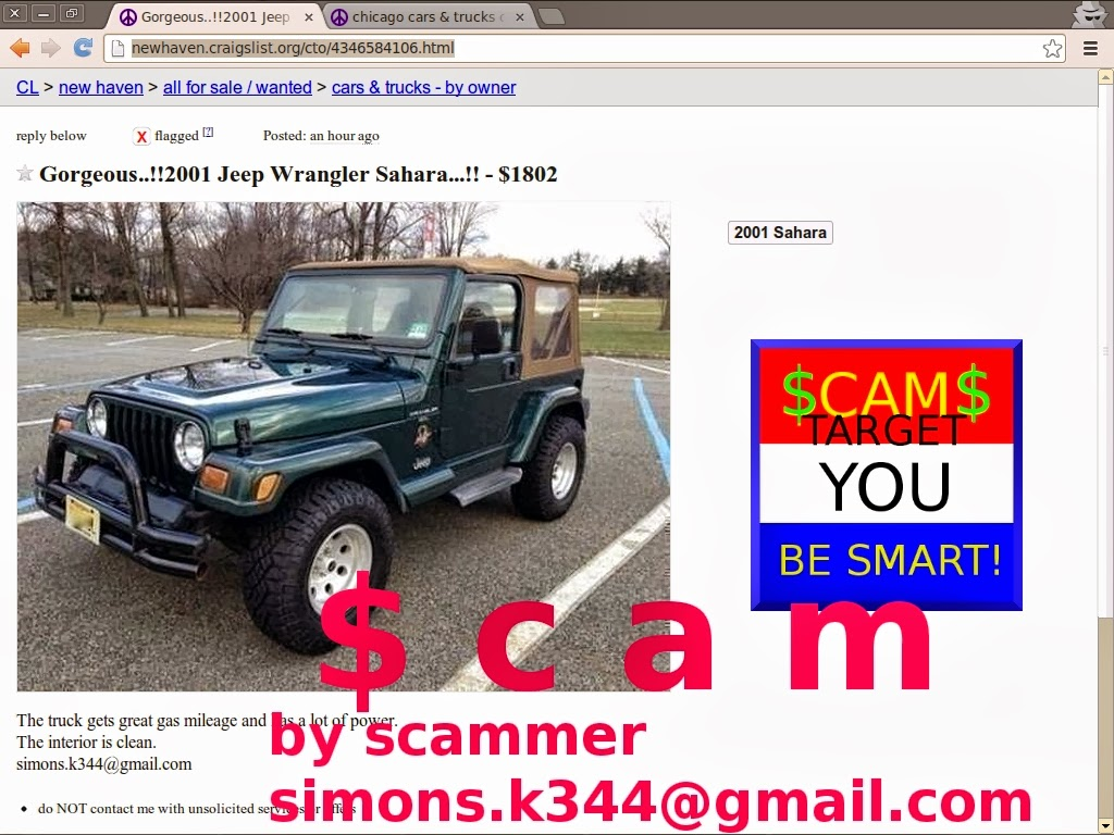 Http newhaven craigslist org cto 4346584106 html gorgeous 2001 jeep wrangler sahara 1802 by scammer simons k344 gmail com