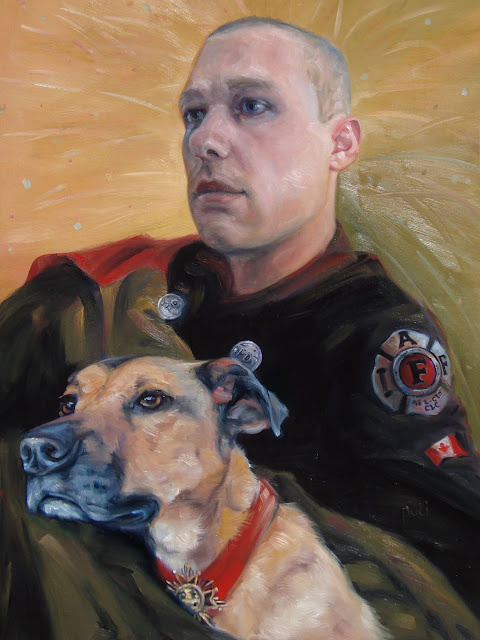 original oil painting fashioned after the movie step brothers, dog and man