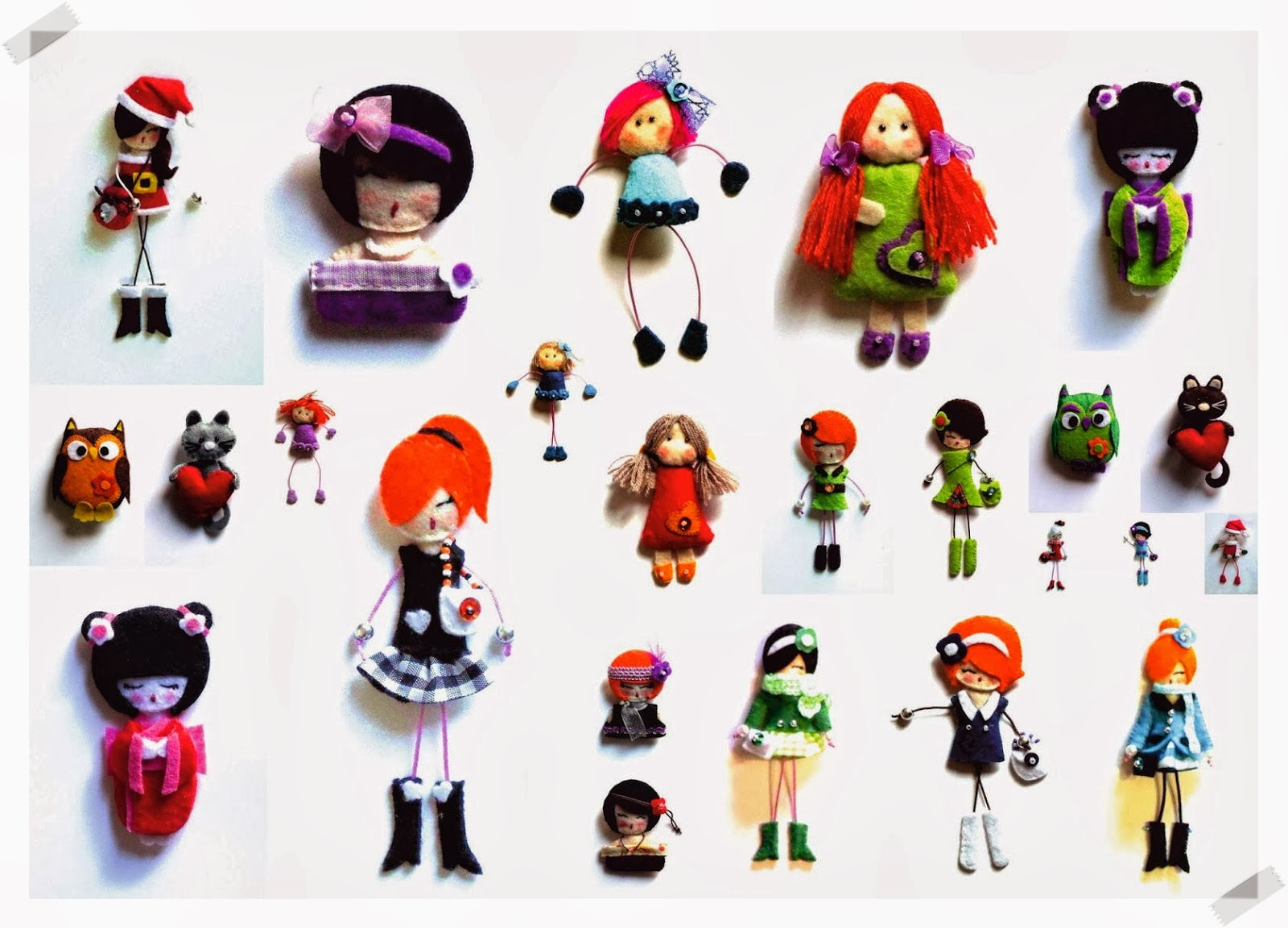 Susies, fieltro, broches, muñecas, handmade
