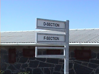 D-Section and F-section signs on Robben Island
