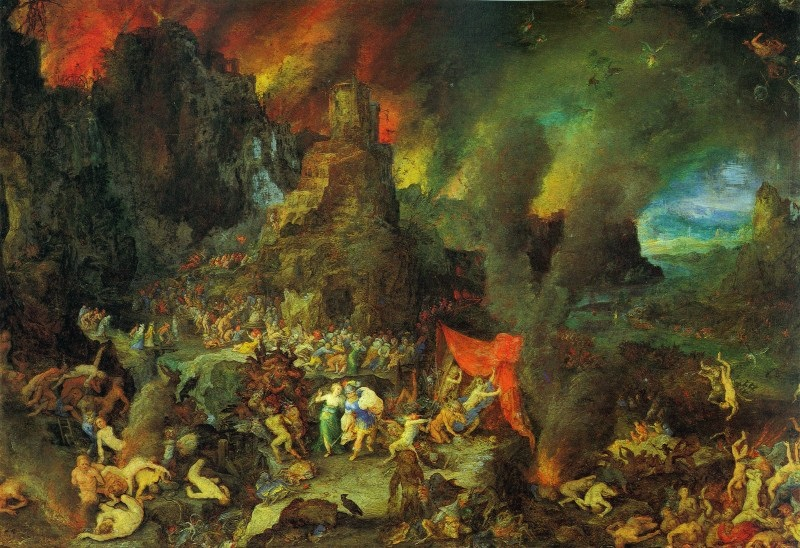 A painting of a fiery underworld
