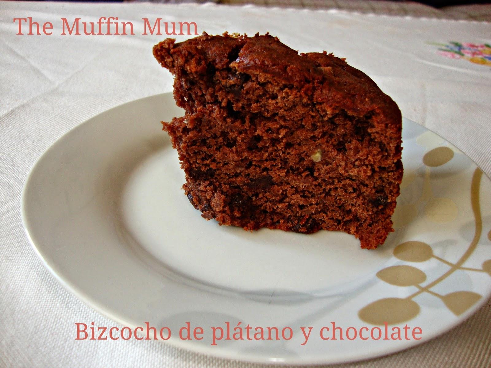 Porción de Bizcocho de plátano y chocolate