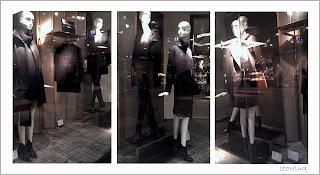 zara, visual merchandising, winter collection. black coat, eye, store luq