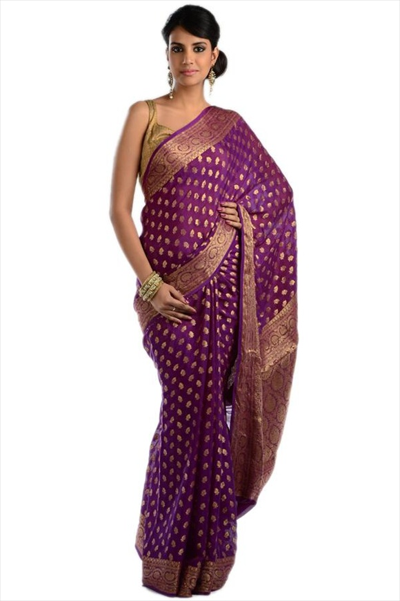Deep Lavender Georgette Banarasi Saree