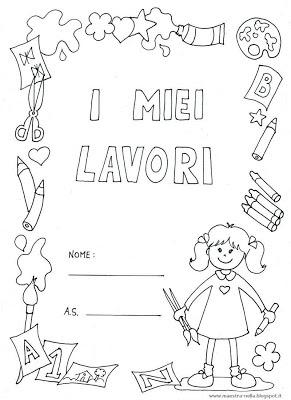 Maestra nella copertine 39 i miei lavori 39 bambino e bambina - Libri di scuola materna stampabili gratuitamente ...
