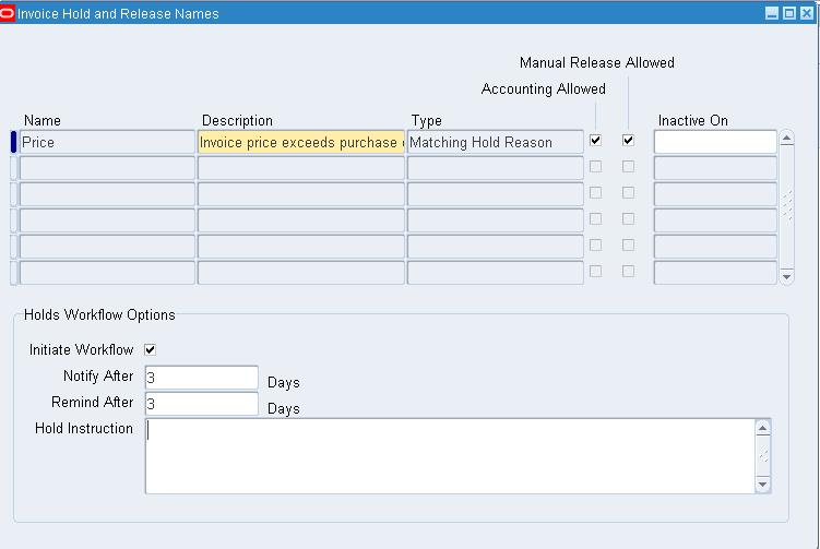following setup needs to be done at payables level setup invoice hold and release names