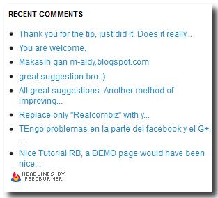 recent comments widget by feedburner
