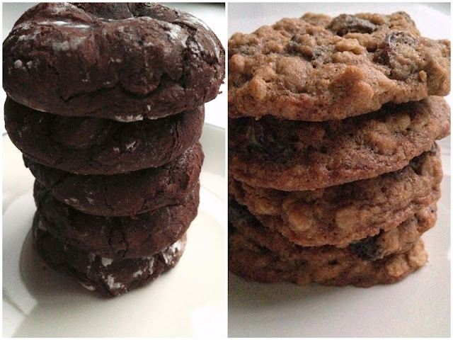 Gluten Free Dark Chocolate Cookies and Oatmeal Raisin Cookies