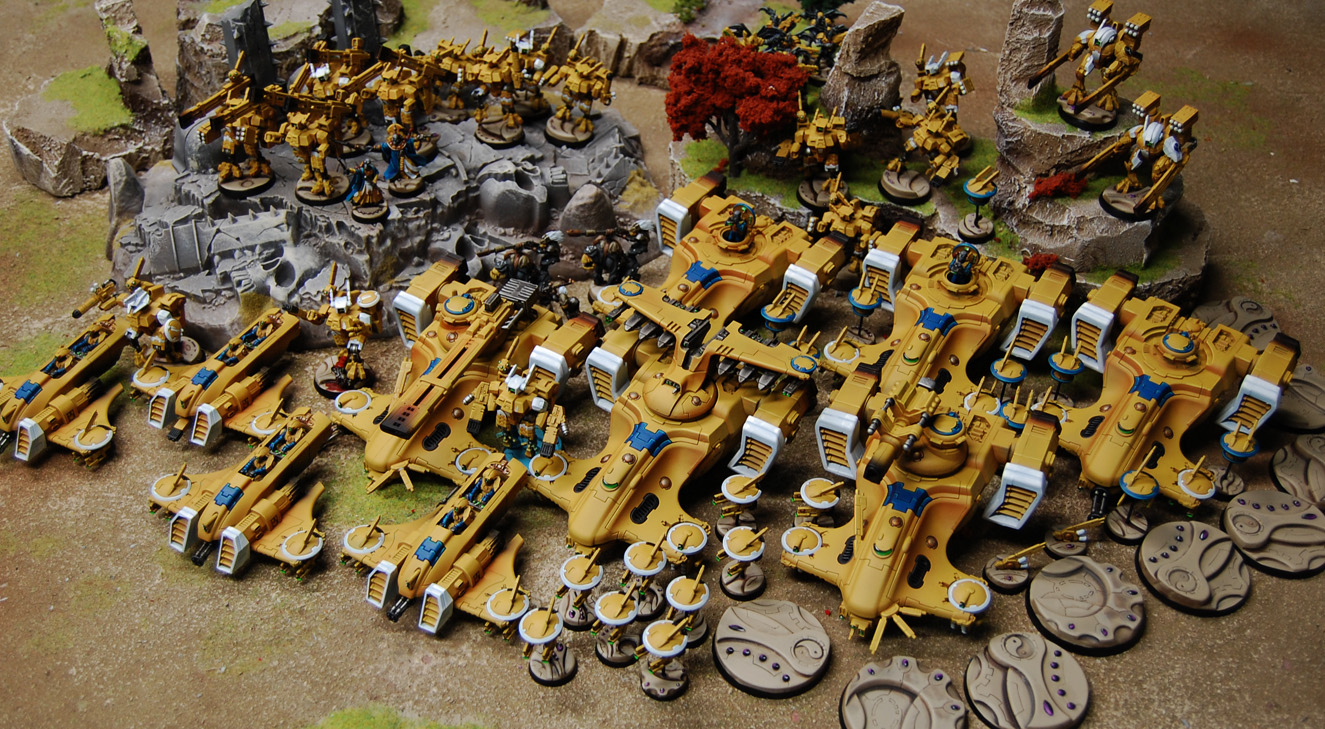 Gmm studios 1512 dark eldar tau two new armies up this week a desert themed dark eldar army and a tau force to match an existing batch of infantry quite the hefty upload with 65 publicscrutiny Images