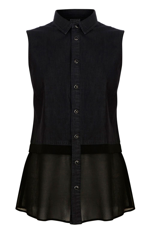 black denim sleeveless shirt