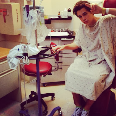 Austin Mahone in his Hospital room before cancelling his tour