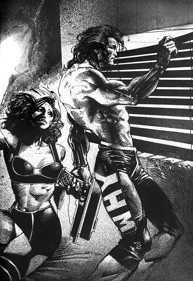 Dessin de Simon Bisley représentant une homme et une femme en noir et blanc