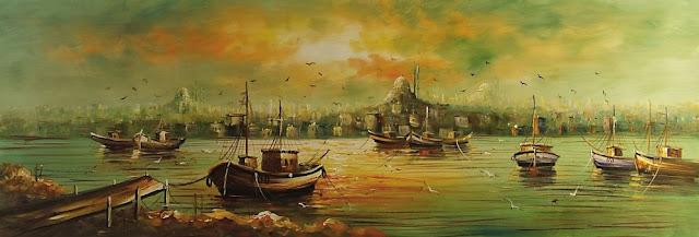istanbul manzarası yağlı boya