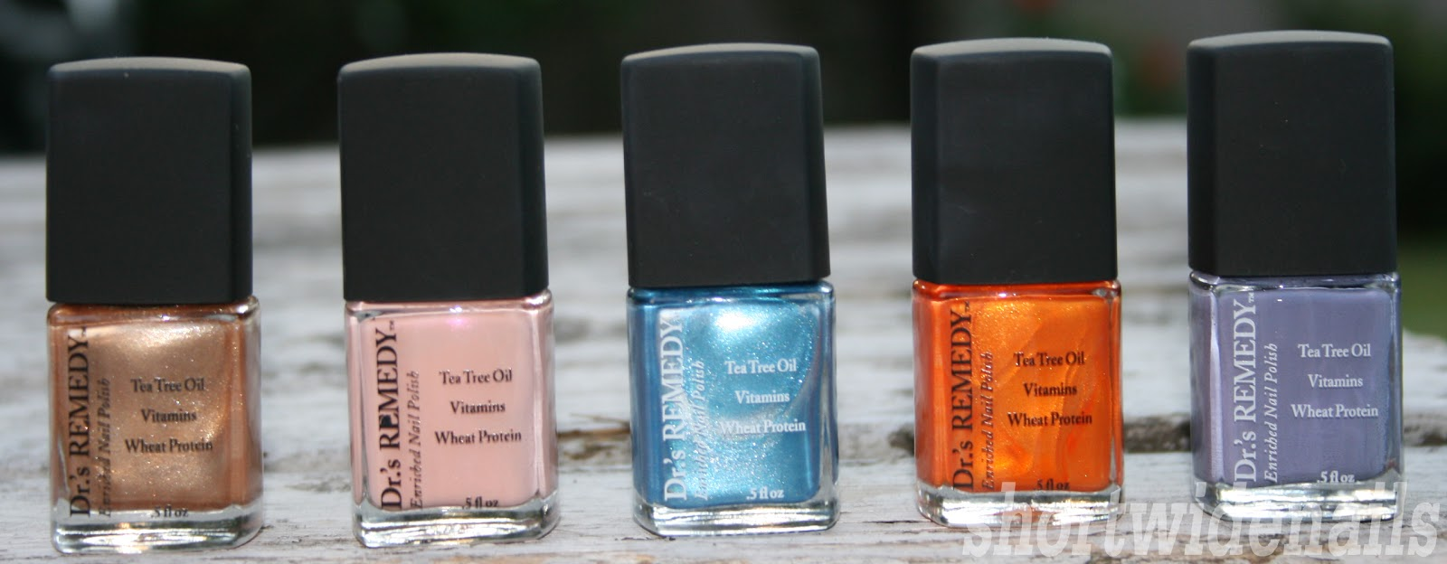 From left to right glee gold nurture nude pink bold baby blue
