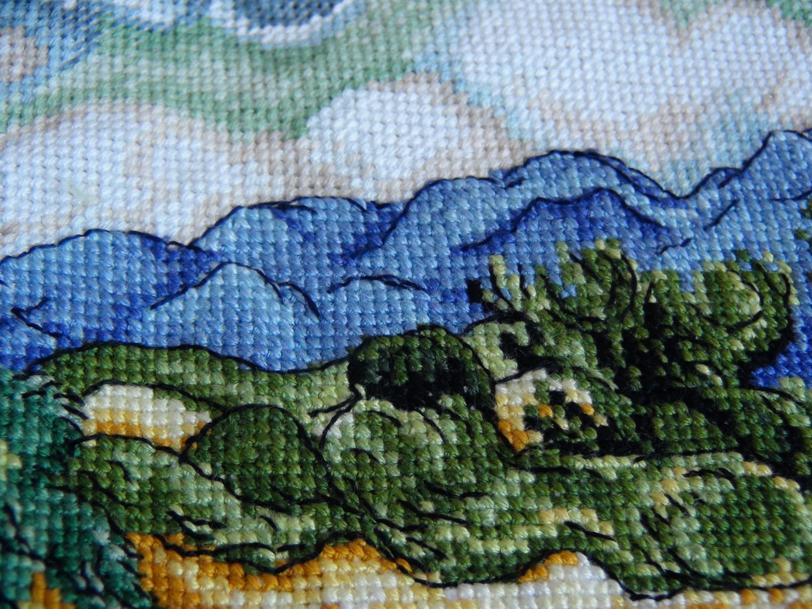 Вышивка пшеничное поле с кипарисами 68