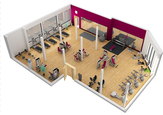 3d modelling gym layout ideas for Gym design layout