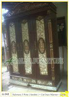 Lemari Pakaian Ukiran Rahwana 3 Pintu ( Serebet ) cat duco marmer dan emas