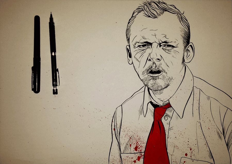 inktober - Shaun of the Dead Simon Pegg portrait