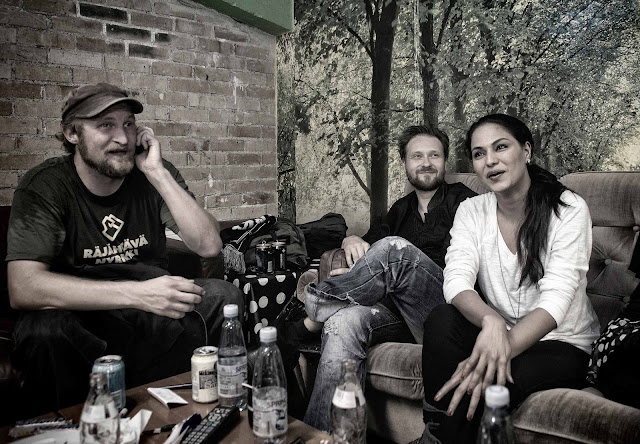 Finland-Musician-Paleface,-Finland-Visual-Arist-Vesa-Kivinen-and-Veena-Malik-In-Finland