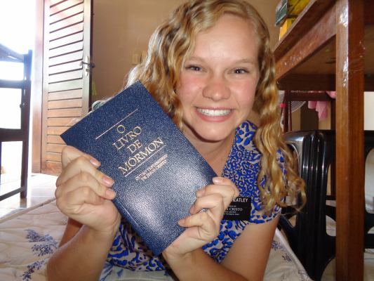 Ashley and her Portuguese Book of Mormon