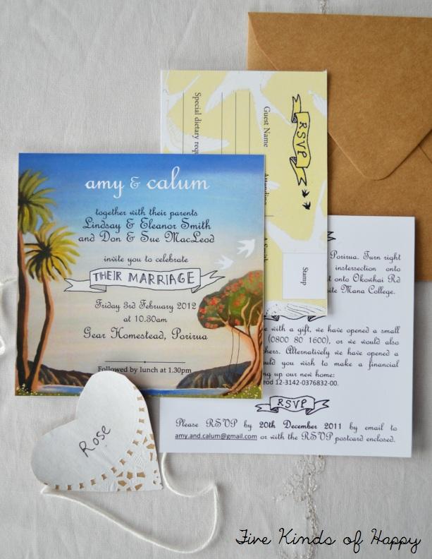 DIY wedding invite. Five Kinds of Happy