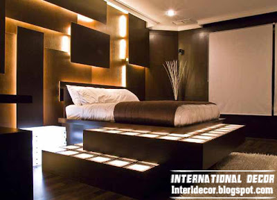 Modern Turkish bedroom design with floor and wall lighting
