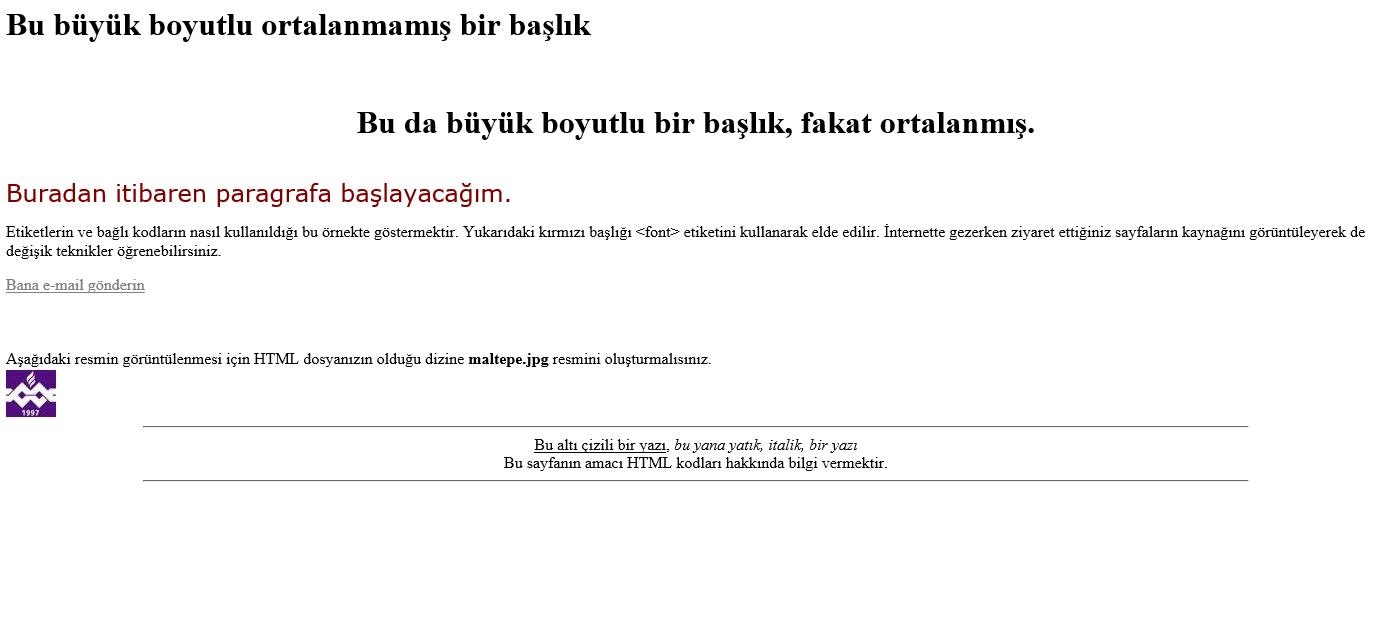 Örneği html ile kodlayınız