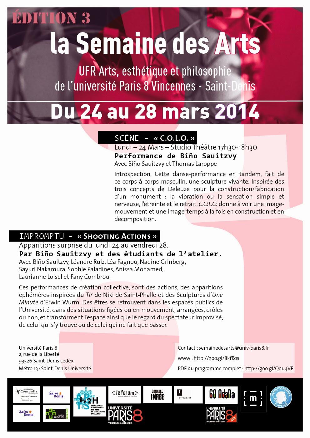 Troisième édition de la Semaine des Arts UFR Arts, esthétique et philosophie de l'université Paris