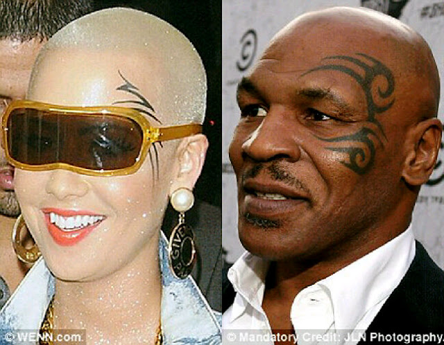 Amber Rose Trying To Steal Mike Tyson's Look With A Huge Tattoo On Her Face