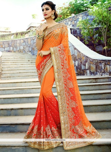 Beguiling Patch Border Work Red n Orange Designer Bridal Saree