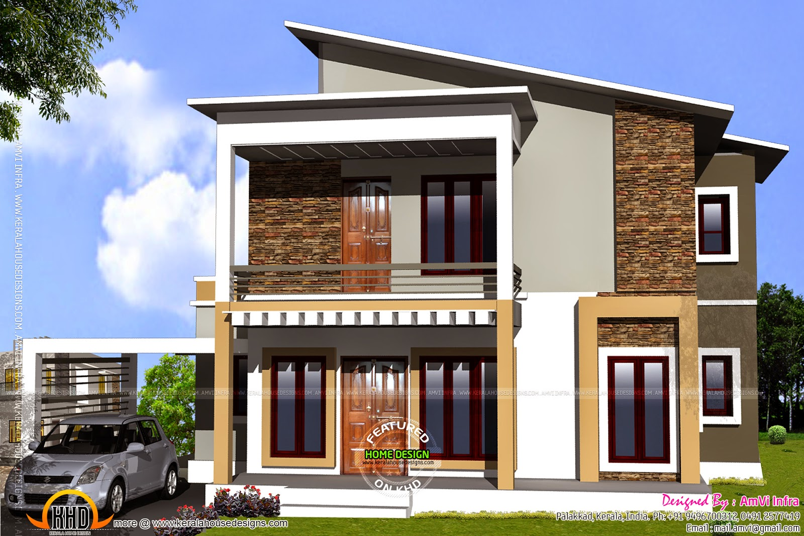 First Floor House Elevation Designs : Elevation with free floor plan kerala home design