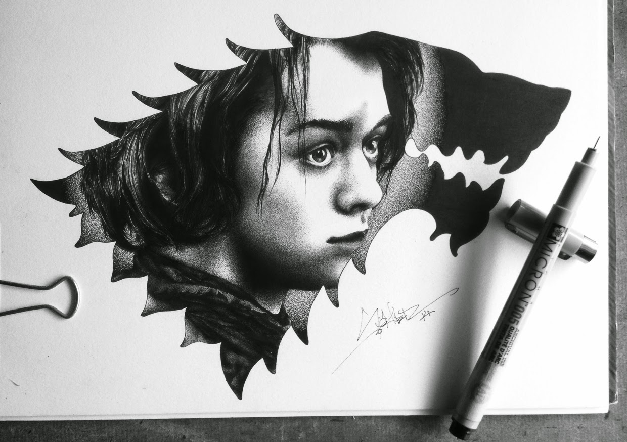 06-Arya-Stark-Spider-Money-Game-of-Thrones-Drawings-and-Detailed-Illustrations-www-designstack-co