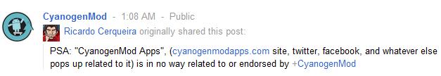 CyanogenMod Google Plus
