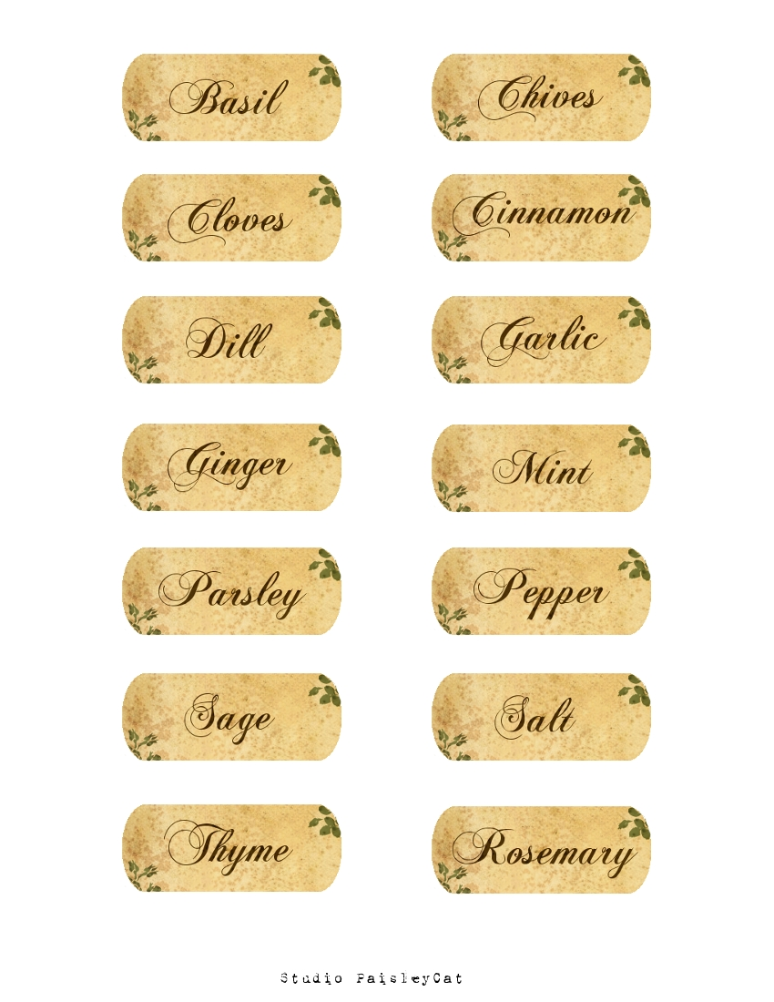 Gratifying image with regard to free printable spice labels