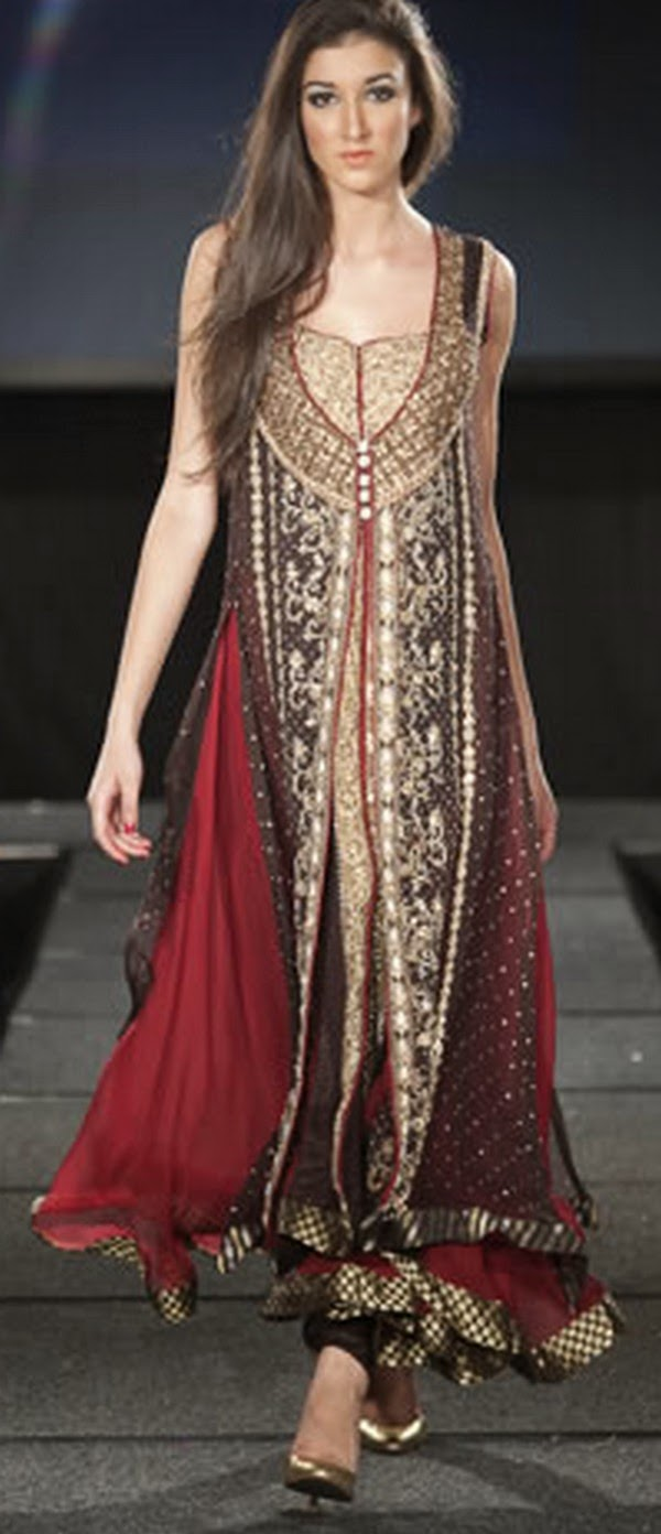 Amazing New Pakistani Winter Dresses For Women  Mehndi Designs 2014